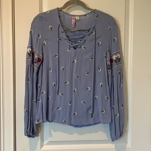 Francesca's Lace Up Flower Embroidered Blouse